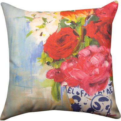 Floral Fusion French Flowers  Throw Pillow