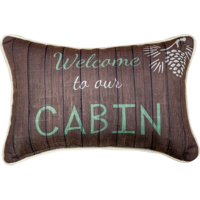 Welcome to Our Cabin - Dye Word Cotton Lumbar Pillow