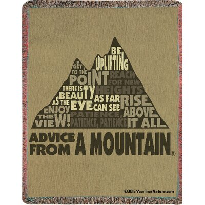 Advice from a Mountain Text Tapestry Cotton Throw