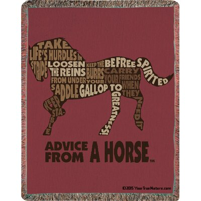 Advice from a Horse Text Tapestry Cotton Throw