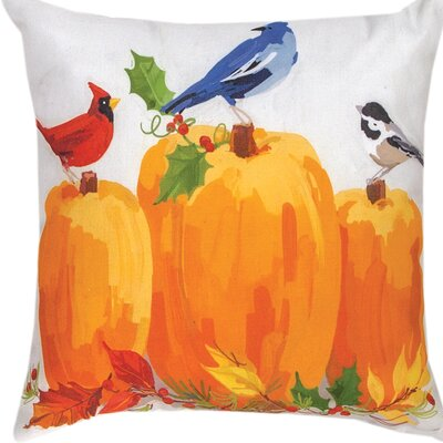 Harvest Birds & Pumpkins Throw Pillow