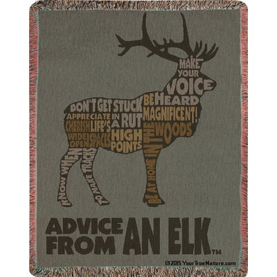 Advice from a Elk Text Tapestry Cotton Throw