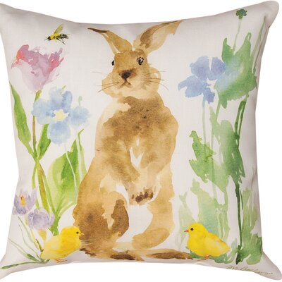 Collins Garden Bunny Flower & Bee Throw Pillow