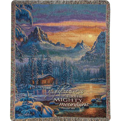 Evening on Mountain Lake Tapestry Cotton Throw