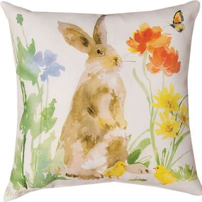 Collins Garden Bunny Flower Butterfly Throw Pillow