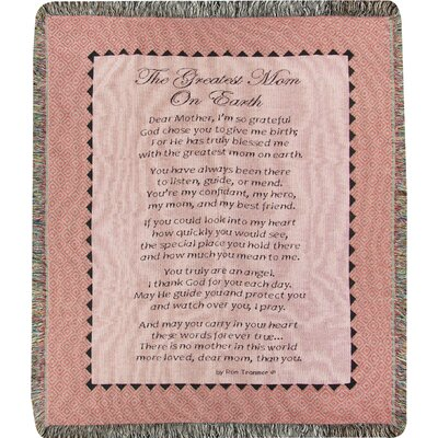 The Greatest Mom on Earth Tapestry Cotton Throw