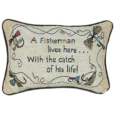 A Fisherman Lives Here His Life Word Lumbar Pillow