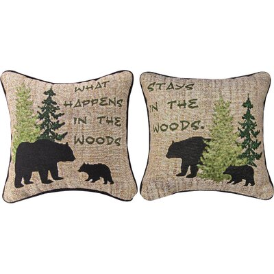What Happens in the Woods Throw Pillow