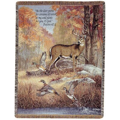 Fur Feathers and Fall Verse Tapestry Cotton Throw