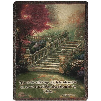 Stairway to Paradise Verse Tapestry Cotton Throw