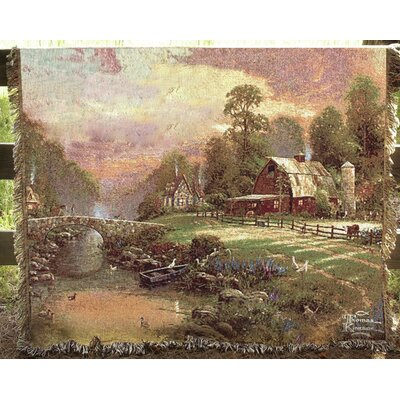 Sunset at Riverbend Farm Tapestry Cotton Throw