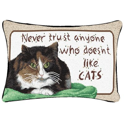 Never Trust Like Cats Word Lumbar Pillow