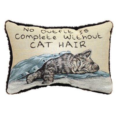 No Outfit is Complete Cat Hair Word Lumbar Pillow