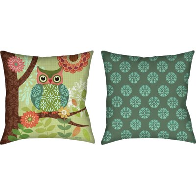 Forest Owls Knife Edge Throw Pillow