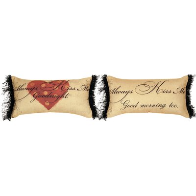 Always Kiss Me Goodnight Knife Edge Cotton Lumbar Pillow