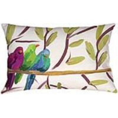 Flocked Together Birds Lumbar Throw Pillow