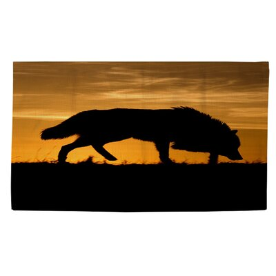 Wolf Silhouette Area Rug Rug Size: 2' x 3'