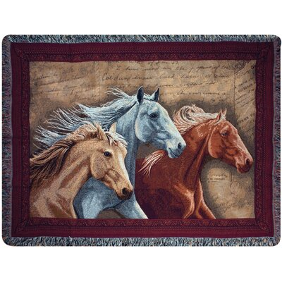 Three Horses Tapestry Cotton Throw
