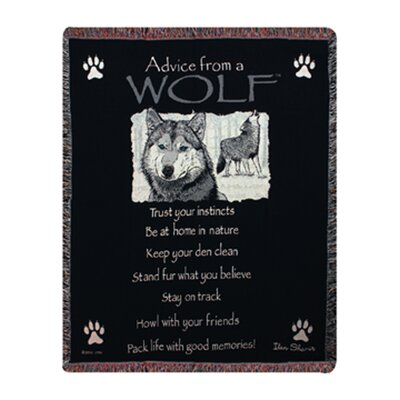 Advice From a Wolf Tapestry Cotton Throw