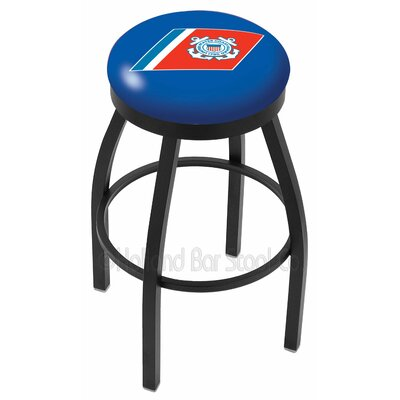 US Armed Forces 25 Swivel Bar Stool Branch: Coast Guard, Ring Finish: Black Wrinkle