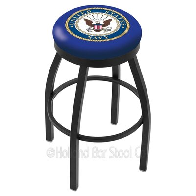 US Armed Forces 30 Swivel Bar Stool Branch: Navy, Ring Finish: Black Wrinkle
