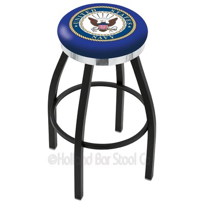 US Armed Forces 25 Swivel Bar Stool Branch: Navy, Ring Finish: Chrome