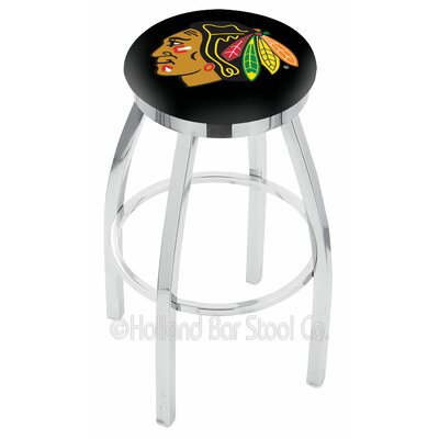 NHL 36 inch Swivel Bar Stool NHL Team: Chicago Blackhawks - Black