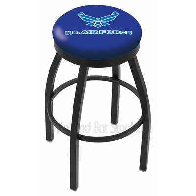 US Armed Forces 30 Swivel Bar Stool Branch: Air Force, Ring Finish: Black Wrinkle