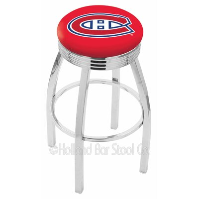 25 inch Chrome Montreal Canadiens Swivel Bar Stool w/ Ribbed Accent L8C3C25MonCan