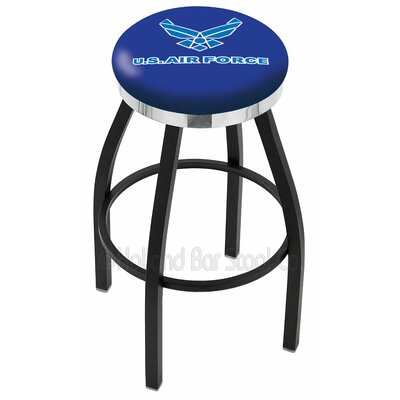 US Armed Forces 25 Swivel Bar Stool Ring Finish: Chrome, Branch: Air Force