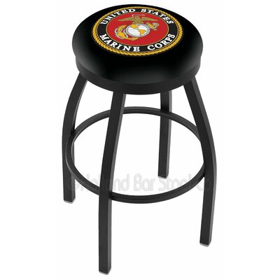 US Armed Forces 30 Swivel Bar Stool Branch: Marines, Ring Finish: Black Wrinkle
