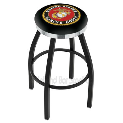 US Armed Forces 30 Swivel Bar Stool Branch: Marines, Ring Finish: Chrome