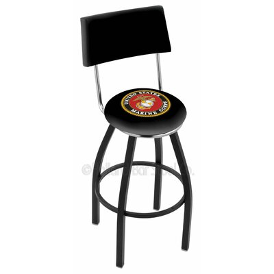 US Armed Forces 30 Swivel Bar Stool Branch: Marines, Base Color: Black Wrinkle