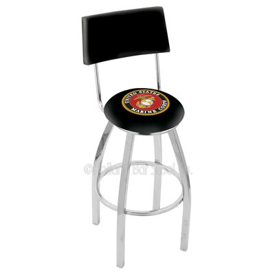 US Armed Forces 25 Swivel Bar Stool Branch: Marines, Base Color: Chrome