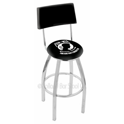 US Armed Forces 30 Swivel Bar Stool Branch: POW/MIA, Base Color: Chrome