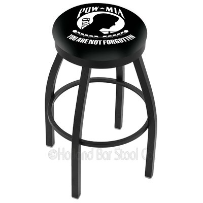 US Armed Forces 30 Swivel Bar Stool Branch: POW/MIA, Ring Finish: Black Wrinkle
