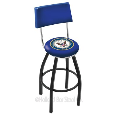 US Armed Forces 30 Swivel Bar Stool Branch: Navy, Base Color: Black Wrinkle