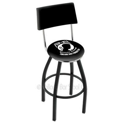 US Armed Forces 30 Swivel Bar Stool Branch: POW/MIA, Base Color: Black Wrinkle