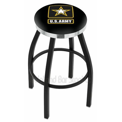 US Armed Forces 30 Swivel Bar Stool Branch: Army, Ring Finish: Chrome