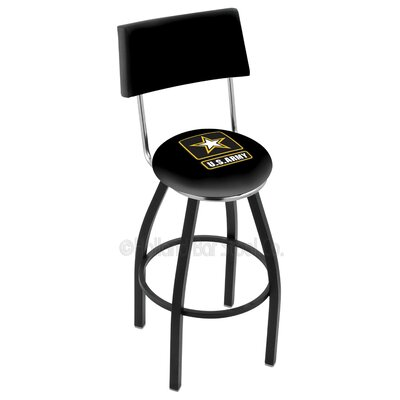 US Armed Forces 30 Swivel Bar Stool Branch: Army, Base Color: Black Wrinkle
