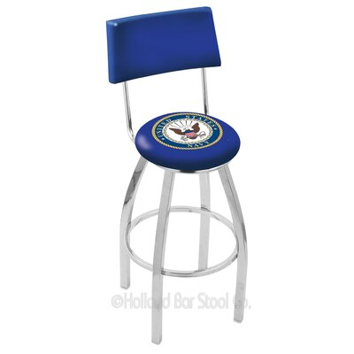 US Armed Forces 25 Swivel Bar Stool Branch: Navy, Base Color: Chrome