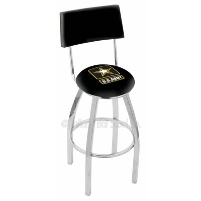 US Armed Forces 25 Swivel Bar Stool Branch: Army, Base Color: Chrome