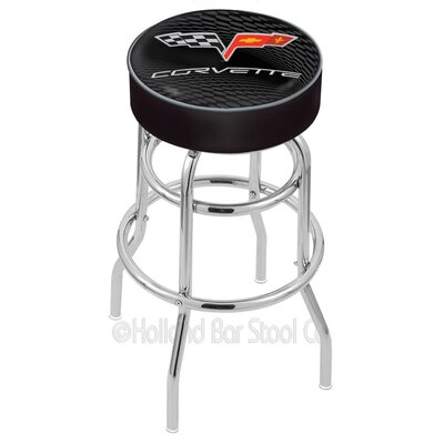 Corvette - C6 25 Swivel Bar Stool Upholstery: Black / Silver