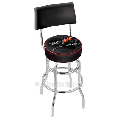 Corvette - C6 25 inch Swivel Bar Stool Upholstery: Black / Gold