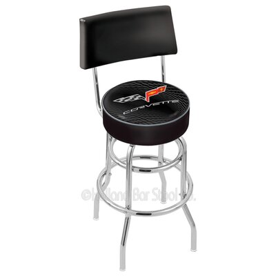 Corvette - C6 30 Swivel Bar Stool Upholstery: Black / Silver