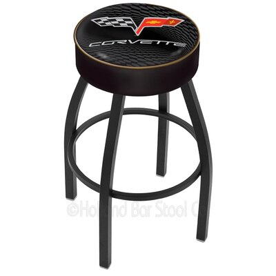 Corvette - C6 30 inch Swivel Bar Stool Base Finish: Black Wrinkle, Upholstery: Black / Gold