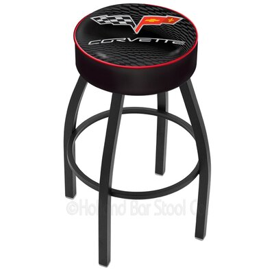Corvette - C6 30 Swivel Bar Stool Base Finish: Black Wrinkle, Upholstery: Black / Red