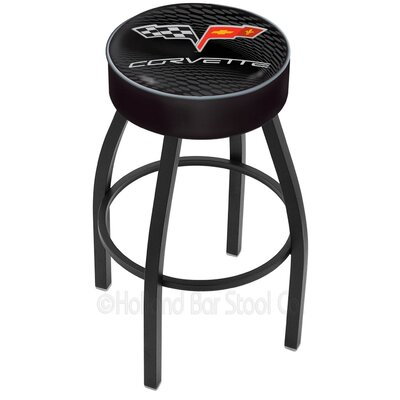 Corvette - C6 30 Swivel Bar Stool Base Finish: Black Wrinkle, Upholstery: Black / Silver