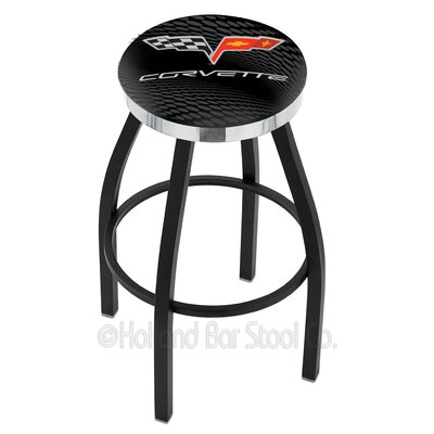 Corvette - C6 30 Swivel Bar Stool Base Finish: Black Wrinkle, Ring Finish: Chrome
