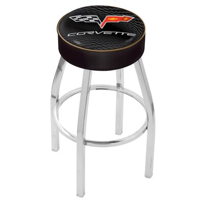 Corvette - C6 30 Swivel Bar Stool Base Finish: Chrome, Upholstery: Black / Gold